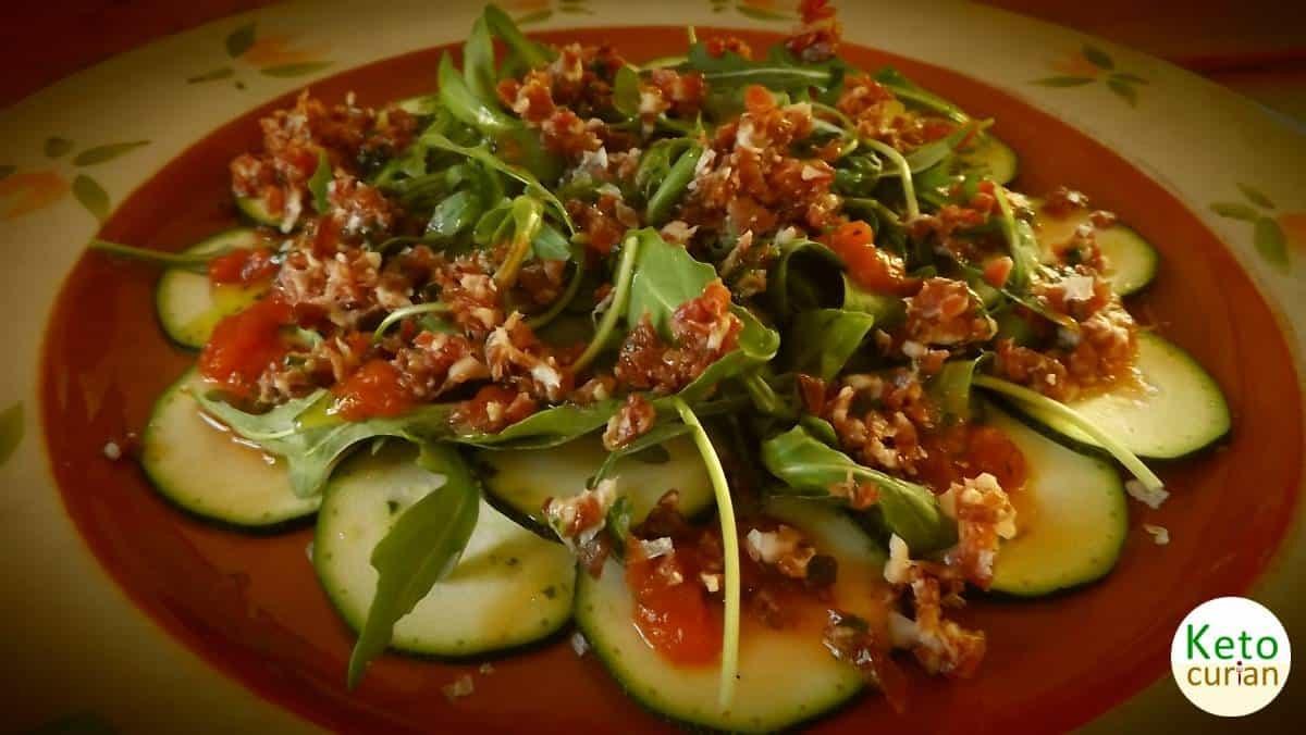 Receta de cocina cetogénica para Carpaccio de Calabacín y Jamón Ibérico