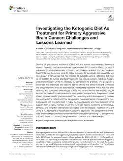 Ketogenic Diet As Treatment for Primary Aggressive Brain Cancer