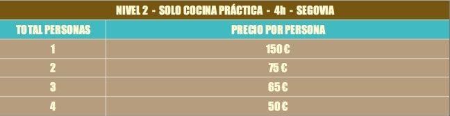 Precios Clase práctica de cocina cetogénica en Segovia