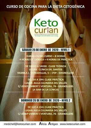 Información Calse de cocina cetogénica y teoría de la dieta keto en Barcelona el 25 y 26 de enero de 2020
