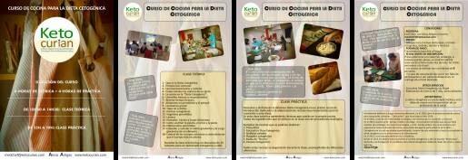 Folleto informativo de las clases teóricas de la dieta cetogénica y de cocina cetogénica práctica